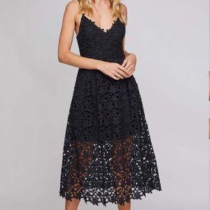 Anthro Astr Black Lace Midi Sleeveless Dress Large